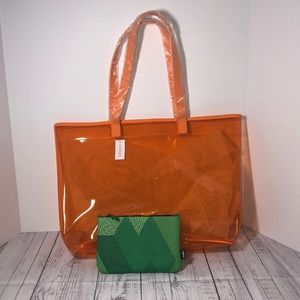 Set of 2 Travel Bags/Tote Both New Orange & Green